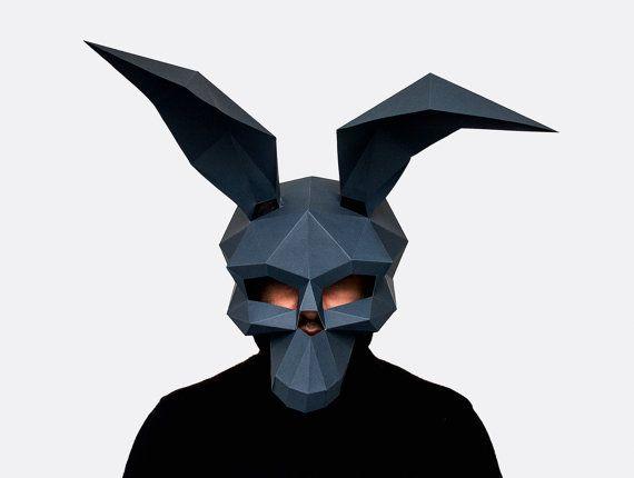 Rabbit Skull Mask, DIY printable skull mask, Instant Pdf download ...
