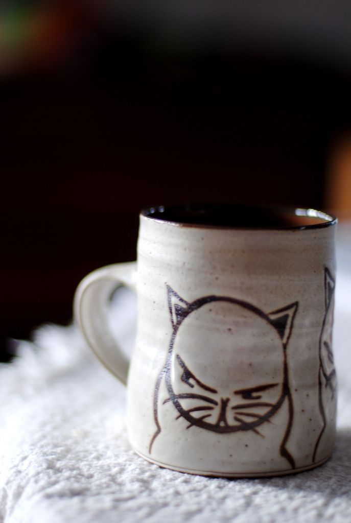 https://flic.kr/p/8ZBW77 | 73:365 | my grumpy kitty mug.  i didn't buy much at bazbiz but i did get myself one of danmade's awesome mugs.