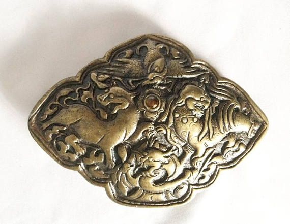 Guardian Lion Paw on Ball Belt Buckle