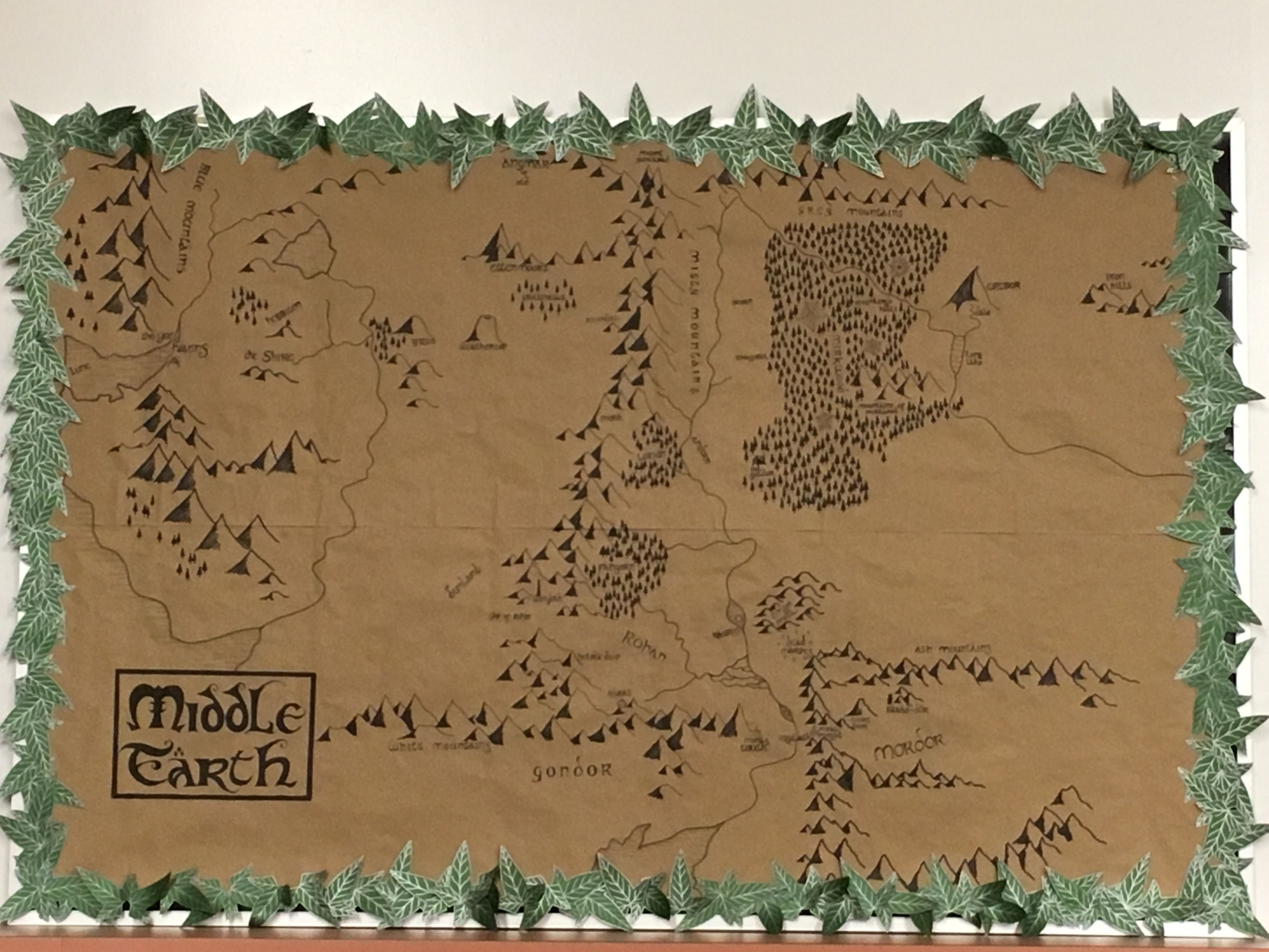 Tolkien Middle Earth Map Bulletin Board Created By