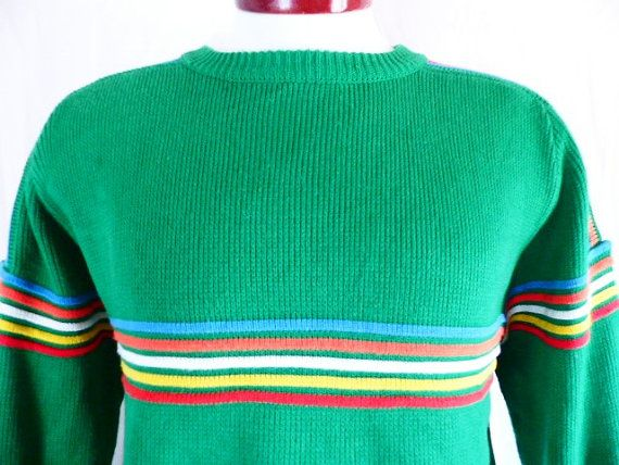 vintage 70's 80's Buffalo color block chest stripe kelly green ...