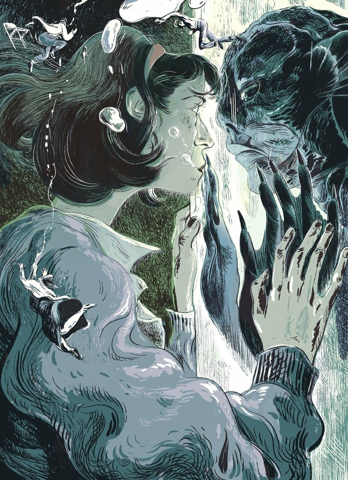 Illustration From The New Yorker Review Of The Shape Of Water Guillermo Del Toro The Shape Of Water Water Art Movie Art
