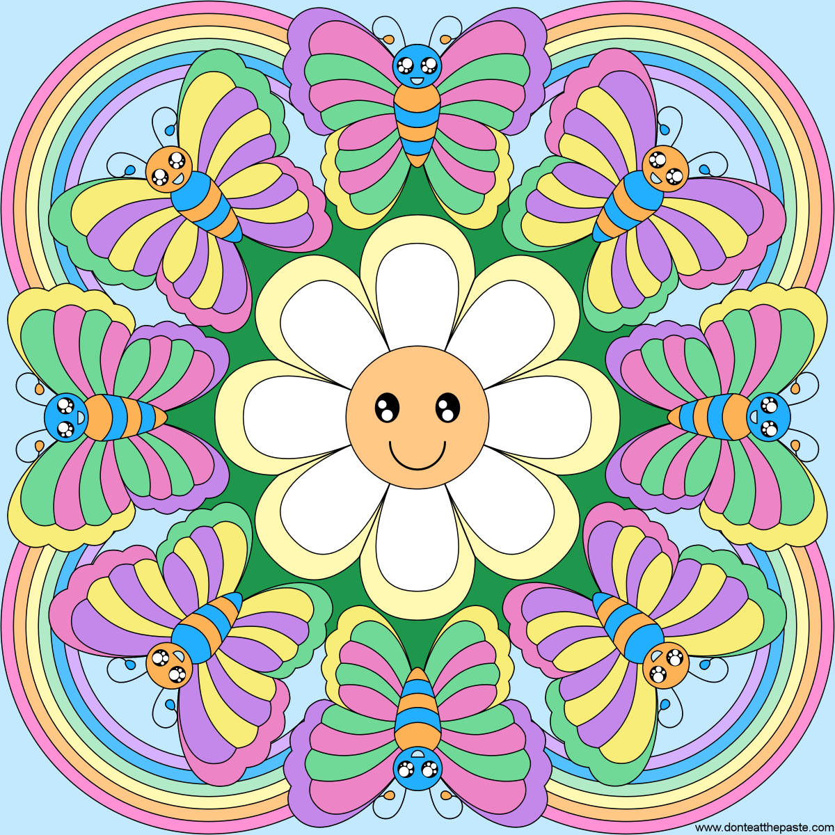 rainbows flowers and butterflies mandala blank version available - Blank Rainbow To Color