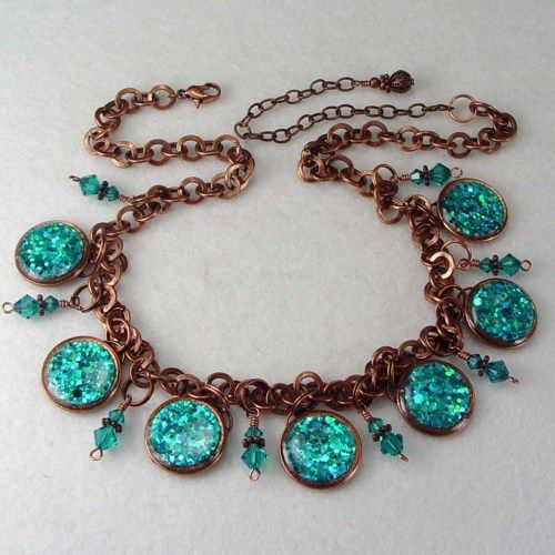 Turquoise Color Copper Necklace Coin Jewelry with Swarovski Crystals