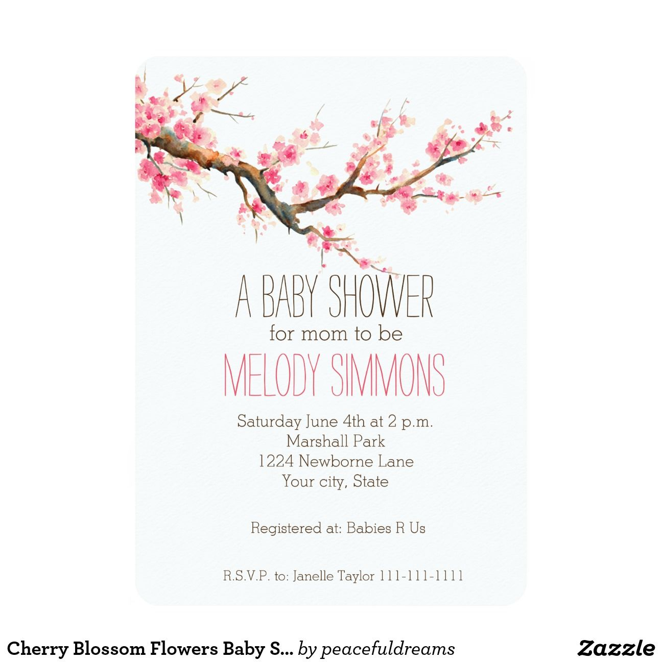 "Cherry Blossom Flowers Baby Shower 5"" X 7"" Invitation Card"