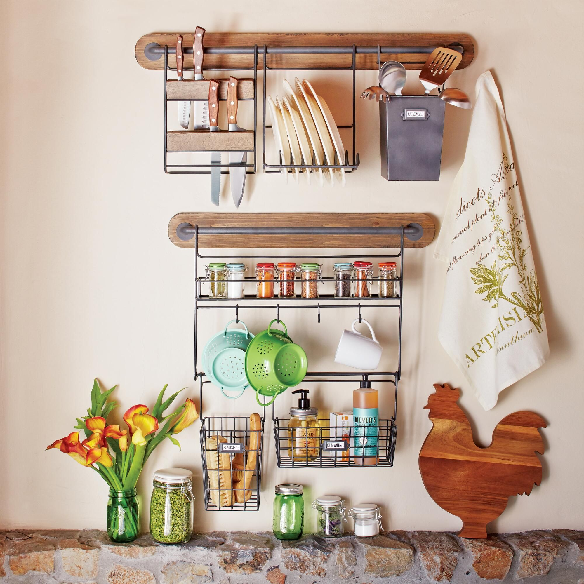 Hang teacups pots pans and other essentials right on the wall with