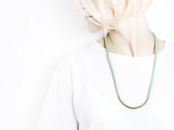 Half moon run  Long necklace with golden bead von ChezKristel, €22.50  #Jewelry #handmade #hamburg #etsy #jewellery #necklace #bracelet #cotton  #etsyde #etsy #cuff #bangle #choker
