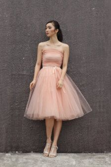 pink tulle dress  strapless dress formal backless