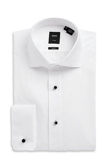 'Valeriano' | Slim Fit, Spread Collar Italian Cotton Tuxedo Shirt by BOSS