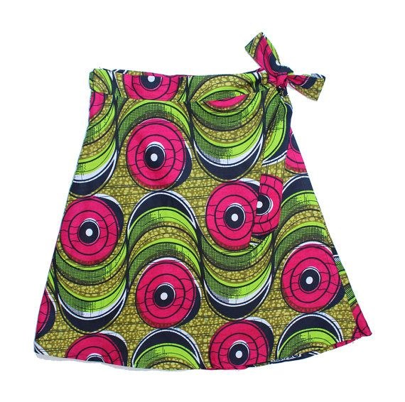 One Size Fuchsia/Yellow Circles Wrap Skirt / FREE SHIPPING / Fair Trade Made in Malawi from African Wax Print Cotton.../// Dsenyo