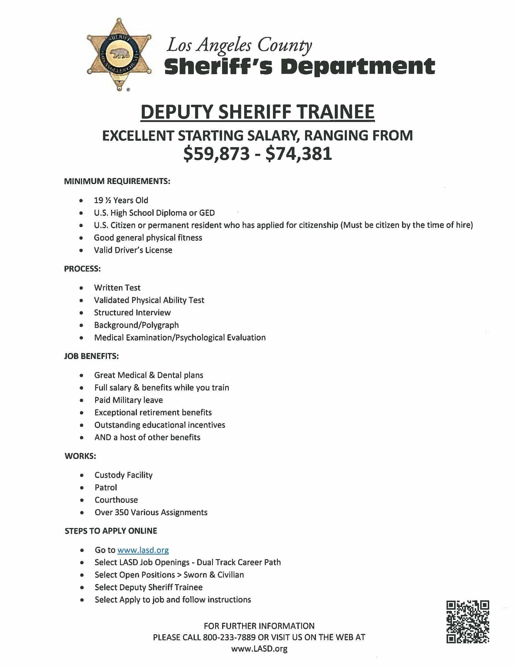 Deputy Sheriff Trainee! Need a job, High school diploma