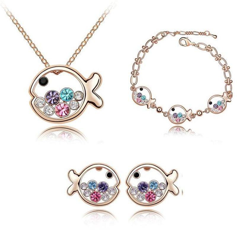 Austrian Crystal Necklace Bracelets Earrings Set Designer Luxury