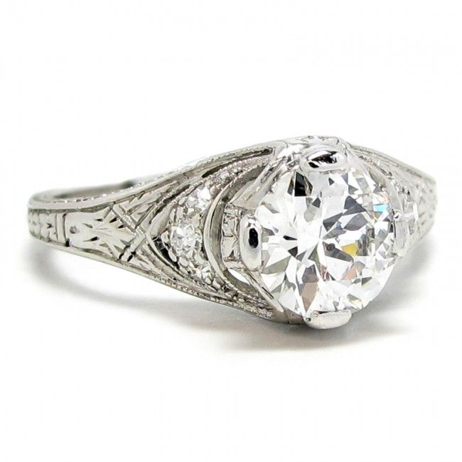 1920's Platinum & Diamond Ring, 0.92ct E-SI1 - This 1920's engagement ring is crafted in platinum and features one 0.92 carat Old European cut diamond rated E color, SI1 clarity.  -                                                                                        $7,450.00                                      - http://www.excaliburjewelry.com/shop/rings/engagement-rings/1920-s-platinum-diamond-ring-0-92ct-e-si1.html