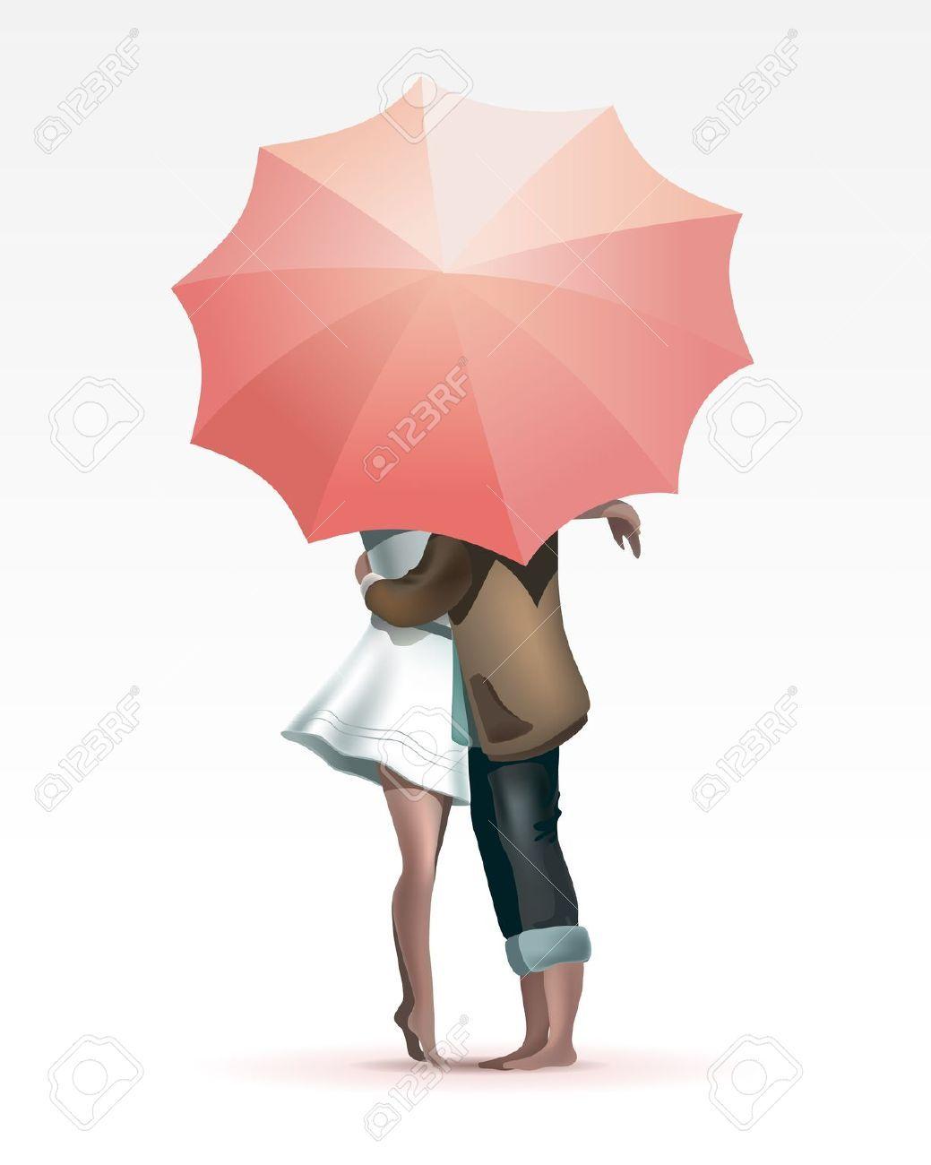Couple Kissing Under Umbrella Silhouette