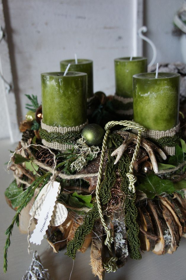 Weihnachtszeit für alle Sinne.... ein frisch duftenden Adventskranz, das frische Grün der