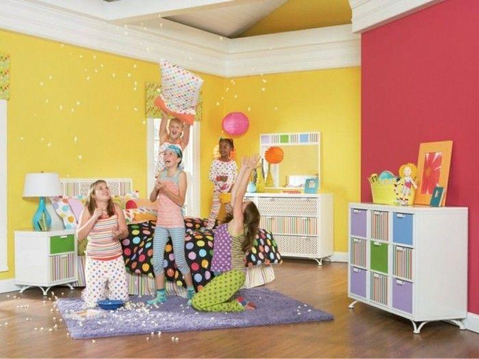 cool inneneinrichtung ideen kinderzimmer einrichten gelbe akzentwand - inneneinrichtung