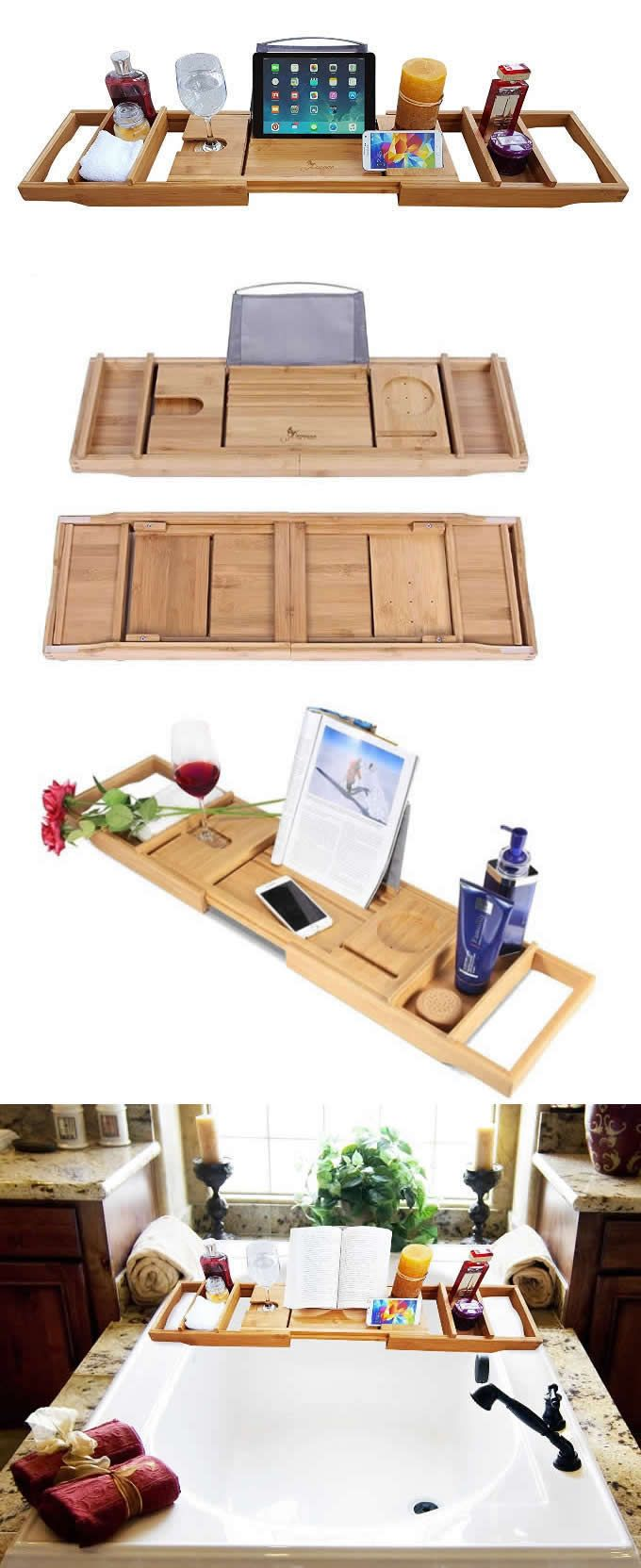 Bamboo Wooden Bathtub Caddy Tray Office Desk Stationery Organizer ...