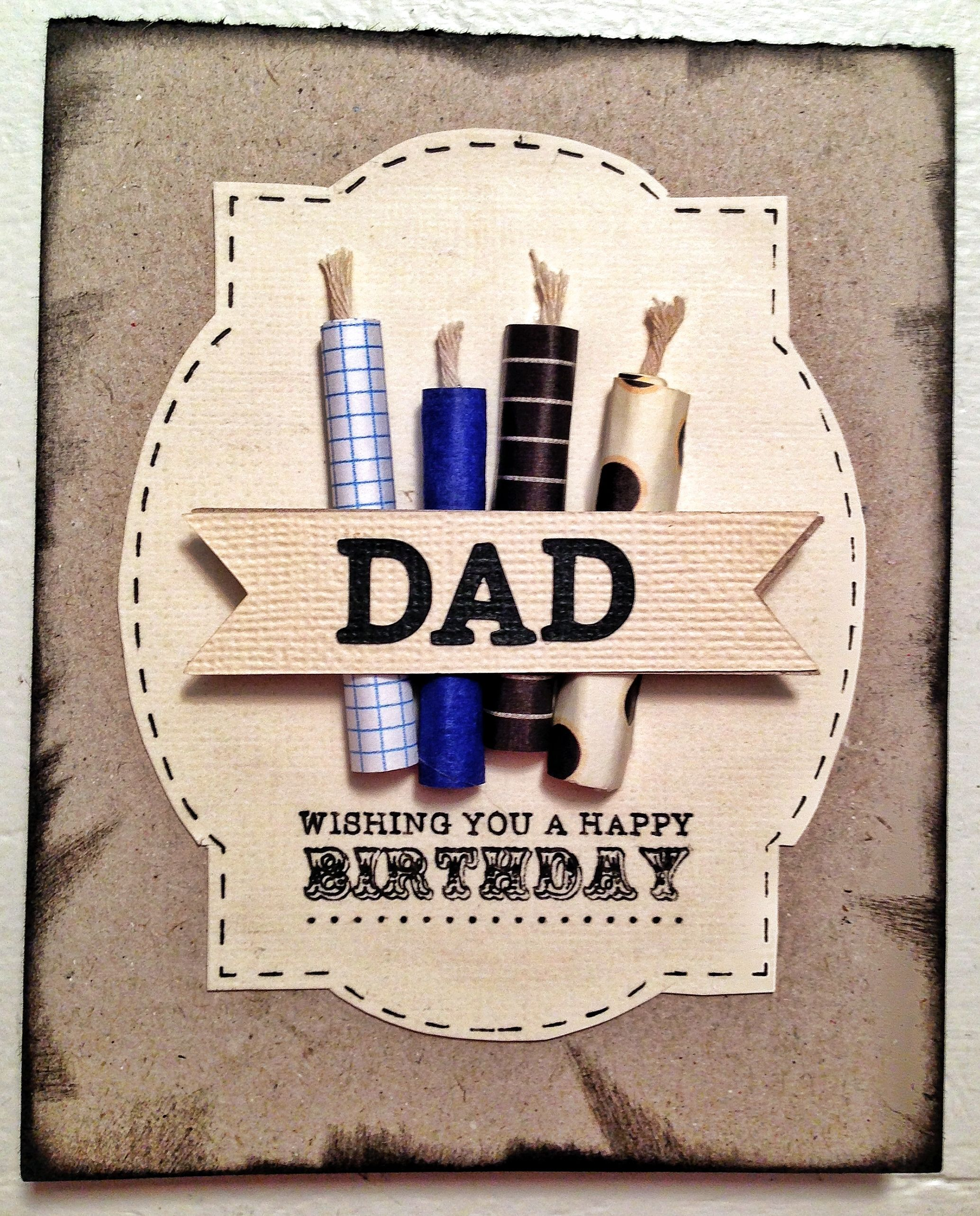 Dad Or Masculine Birthday Card Idea. Used Silhouette Cameo, Silhouette Sketch Pens, And Card
