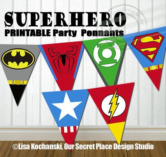 PRINTABLE Superhero Party Banner Super hero Party Banner Super hero