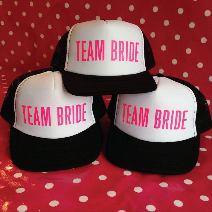 Set Of 6 Team Bride Party Hats. 5 Team Bride Hats. 1 Bride Hat. Bachelorette Party Hats. Hen Party Hats. Snapback Trucker. Bridal Shower. by SoPinkUK on Etsy
