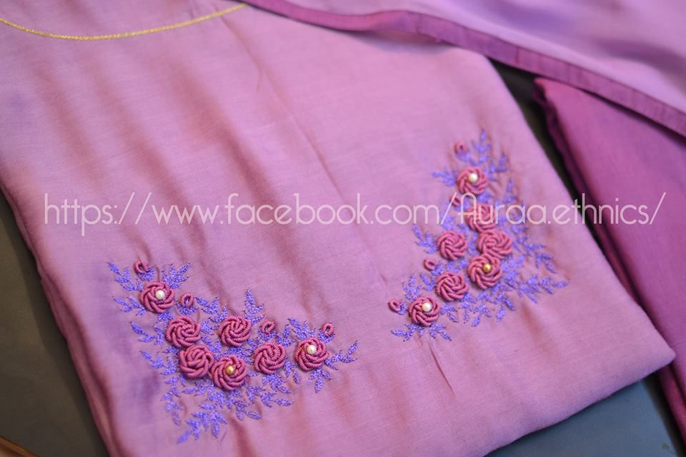 Bullion Knot Rose Embroidery For Kurti Simple Craft Ideas