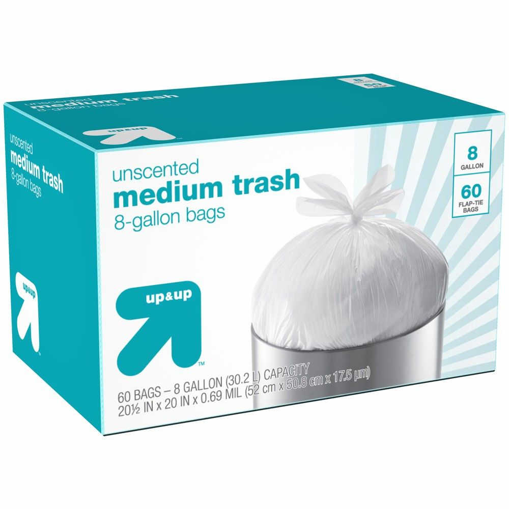 Medium Unscented Flap Tie Trash Bags 8 Gallon 60ct Up Up In 2020 Trash Bags Trash Bag Bad Room Ideas