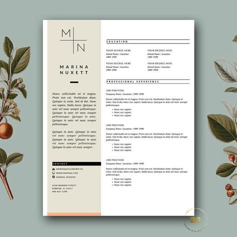 Resume Template for MS Word Professional Resume and Cover Letter