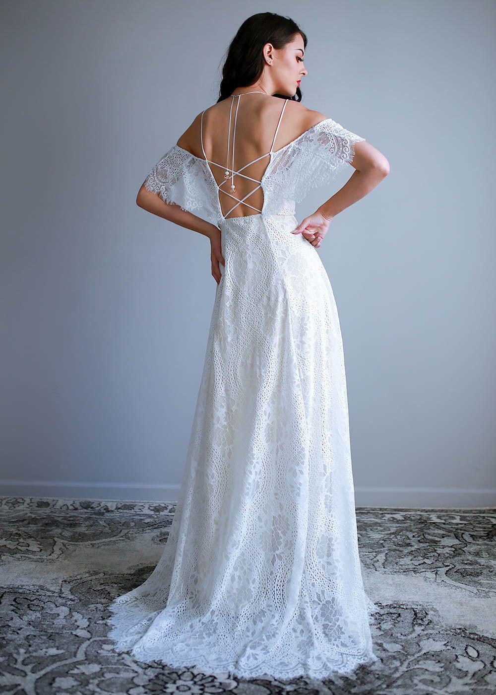Off Shoulder Wedding Dress, Boho Wedding Dress, Hippie Wedding Dress ...