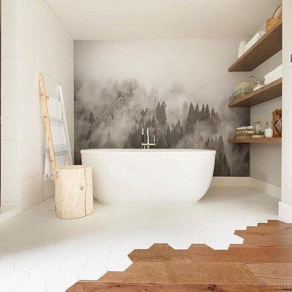 Read the full title Foggy Hills Wandbild - Schwarz und weiß Wallpaper | Große Wandkunst