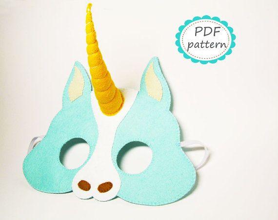 PDF patrón: Unicornio sentía máscara - bricolaje - fieltro tutorial ...