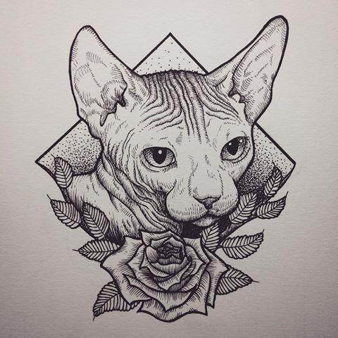 Done Turned Out Better Than I Thought Art Drawing Illustration Illustrasjon Tegning Dotwork Woodcut Sphynx Cat Tattoo Sphynx Cat Tattoo Sphynx Cat