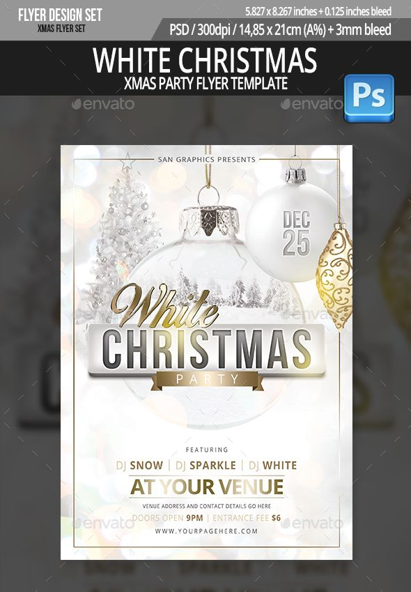 White Christmas Party Flyer Template Party Flyer Flyer Template