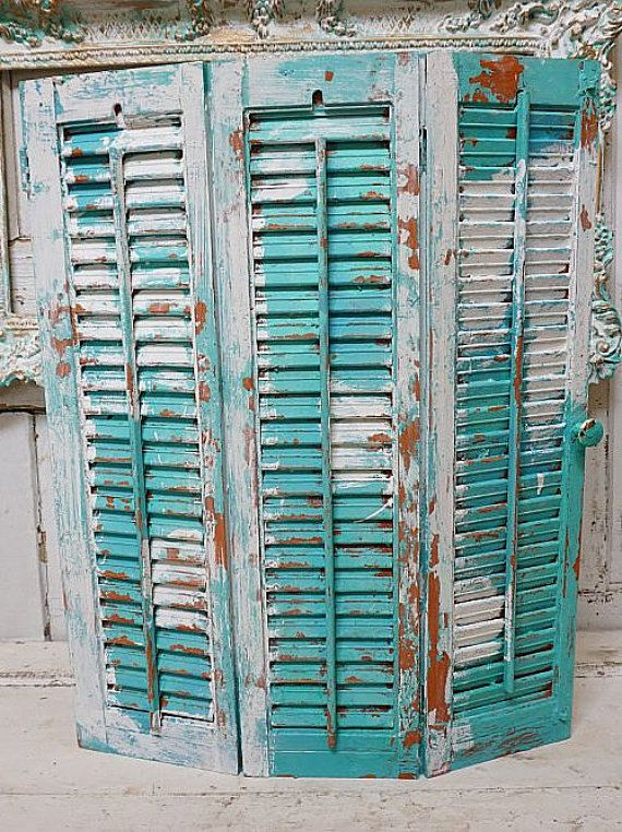 3 Panel Solid Wood Screen Room Divider Blinds Shades: Wooden Painted Shutters Beachy Aqua Blue Wood 3 Panel