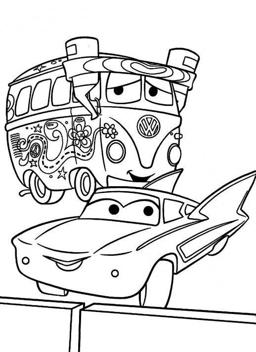 Coloriage Cars Flo.Disney Cars Fillmore Flo Coloring Pages Coloriages