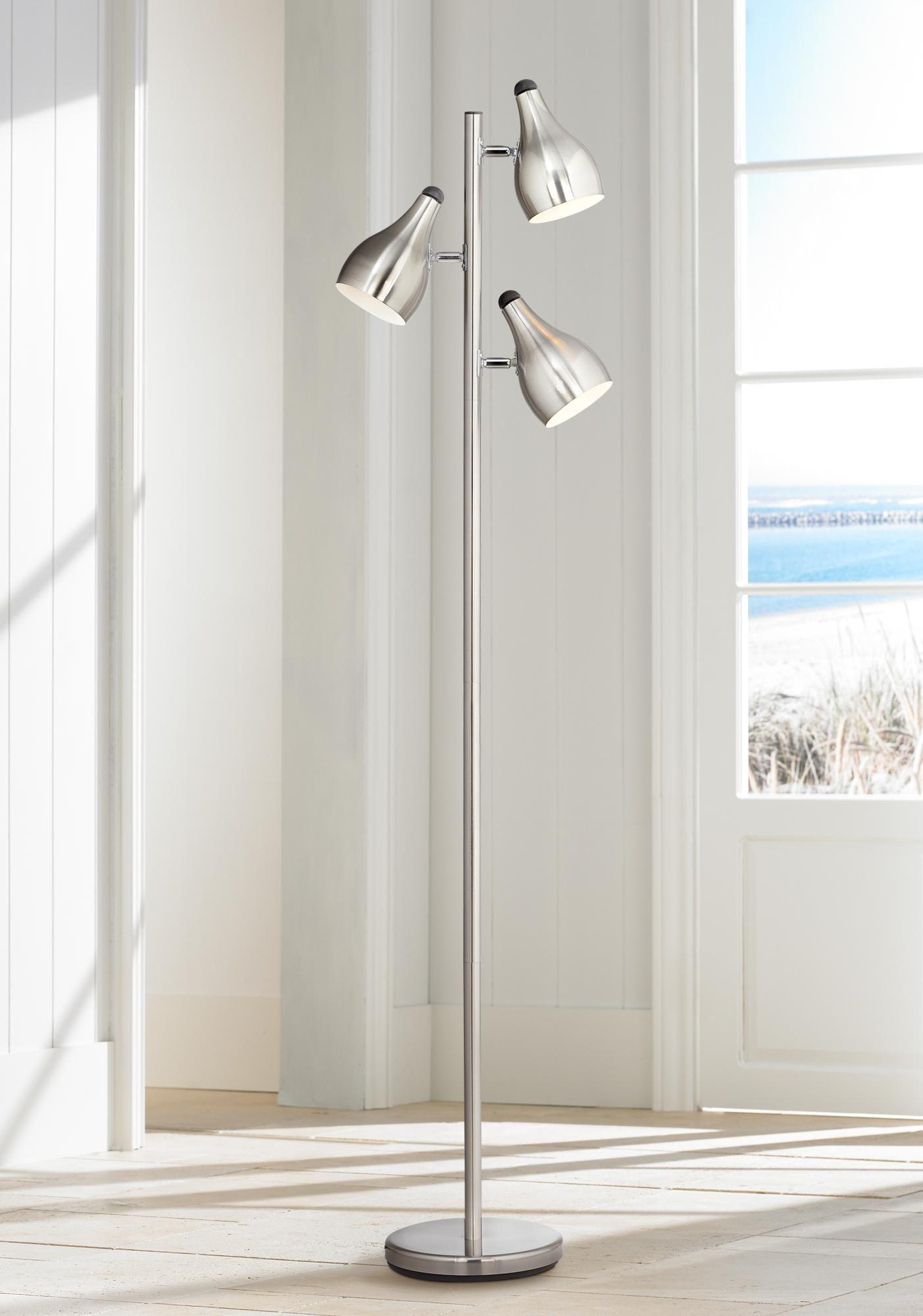 Floor Lamps Trac Tree Style 3 Light Floor Lamp In Brushed Steel In 2020 Floor Lamp Floor Lights Modern Floor Lamps