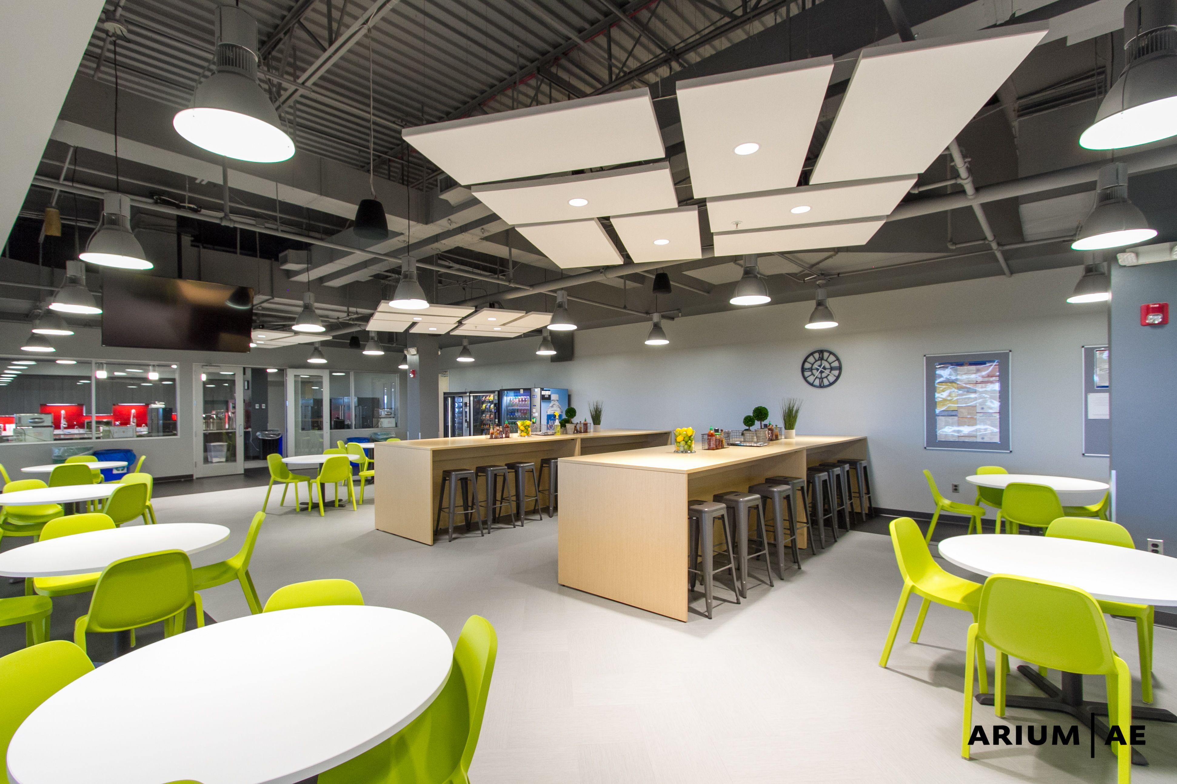 Office break area, ceiling clouds, exposed ceiling design ...