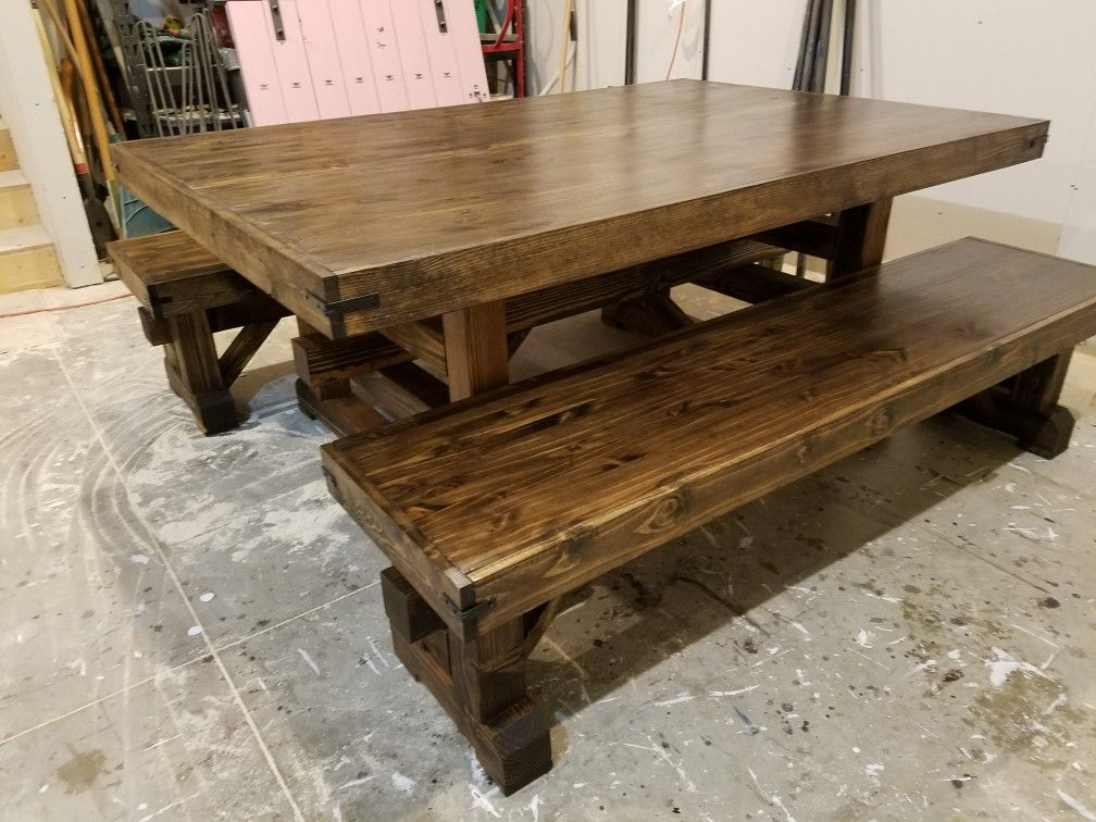 Viking Style Table And Benches Stained In Dark Walnut And Sealed