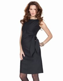 Maternity Clothes: Seraphine Maternity Hermione Black Side Tie Shift Dress  - Click to enlarge