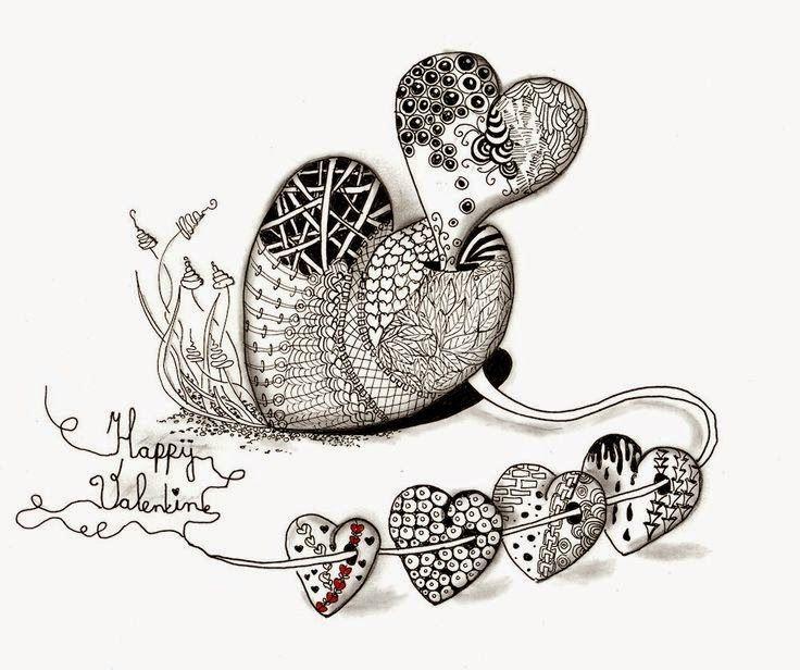 zentangles con forma de corazon para san valentin   Cliparts ...