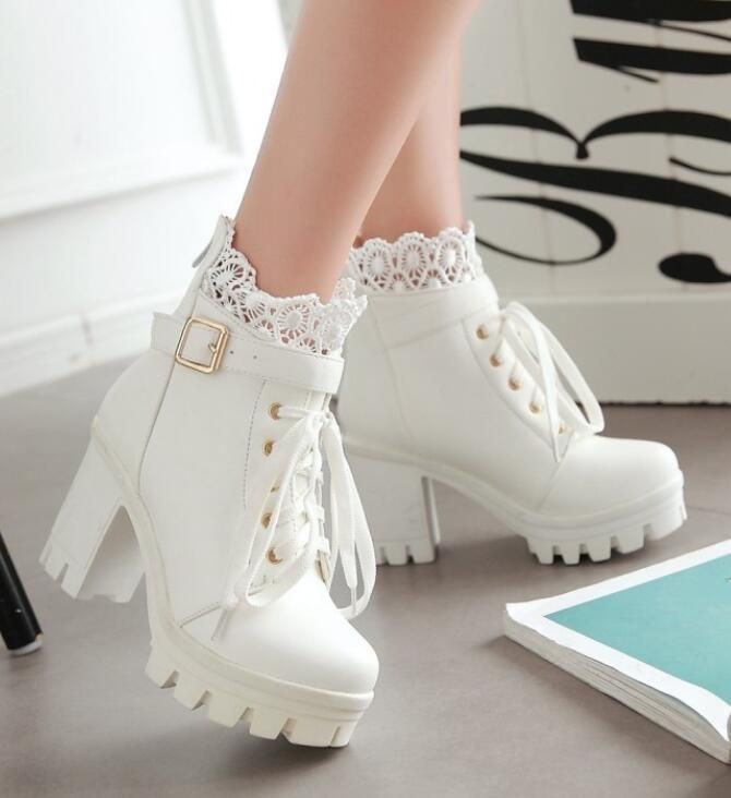 Autumn Womens Cosplay Lace Block Heel Platform Riding Chukka Ankle Boot Shoes | eBay