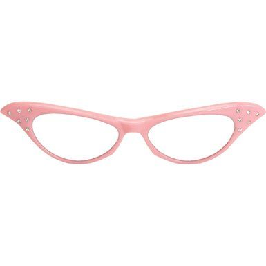 8217a09c19 Amazon.com  Rhinestone Cat Eye 50s Party Glasses in Many Colors (Pink)   Clothing