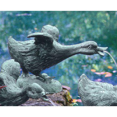 Basil Street Gallery The Lindell Pond Bronze Ducks Spitting Running Duck  Garden Statue