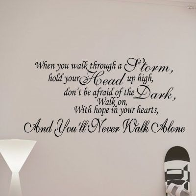 You Ll Never Walk Alone Liverpool Quote Wall Art Decal Sticker Wall Art Quotes Wall Quotes Decal Wall Art