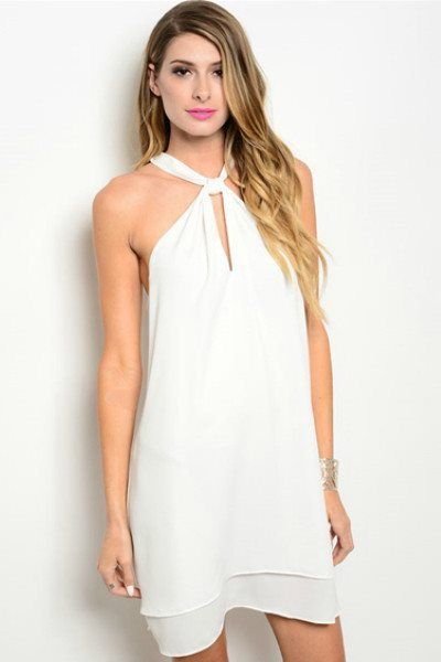 Just The Two Of Us Ivory Wrap Collar Dress