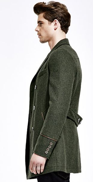Dark Green Australian Wool Mens Long Pea Coat | Wearables ...