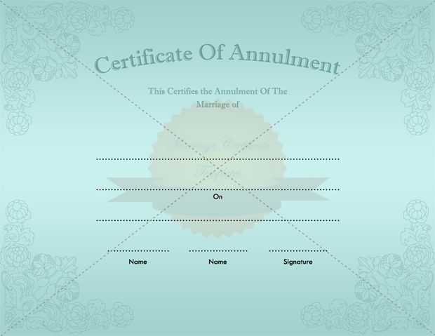 Null and Void Certificate of Annulment Template
