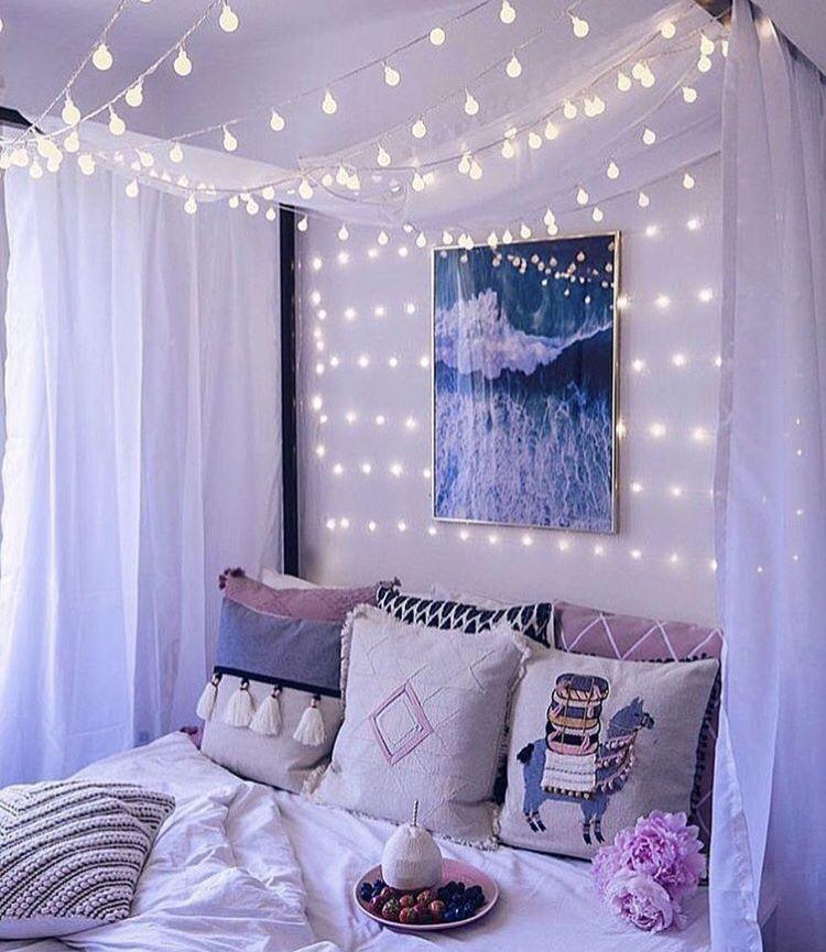 LED White Lights Girl bedroom designs, Bedroom decor