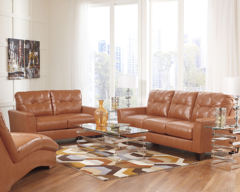 Paulie Durablend Leather Orange Sofa Collection | Ashley Furniture |  Leather Sofa Sets | Orange Living