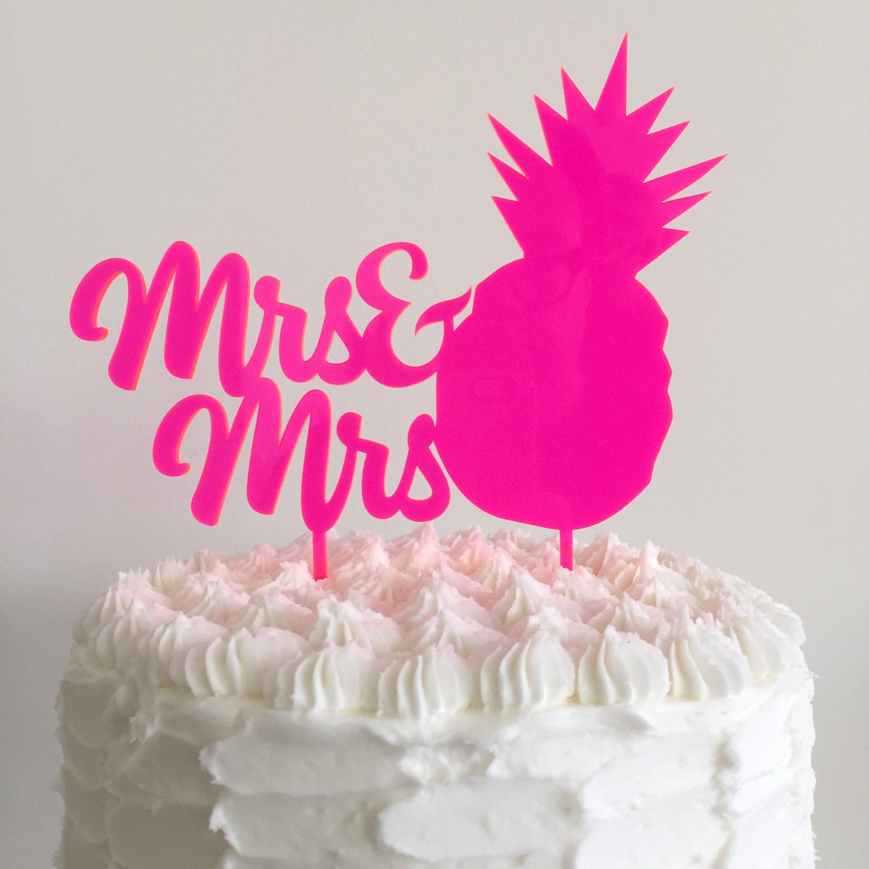 Mrs Mrs Pineapple Same Sex Wedding Cake Topper Lesbian Wedding