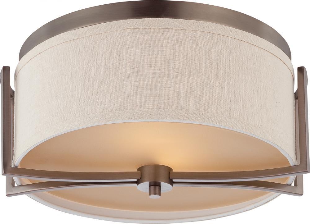 Master Br Gemini 2 Light Flush Dome Fixture W Khaki Fabric Shade 60